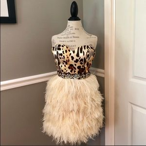 SHERRI HILL COUTURE LEOPARD FEATHER COCKTAIL DRESS